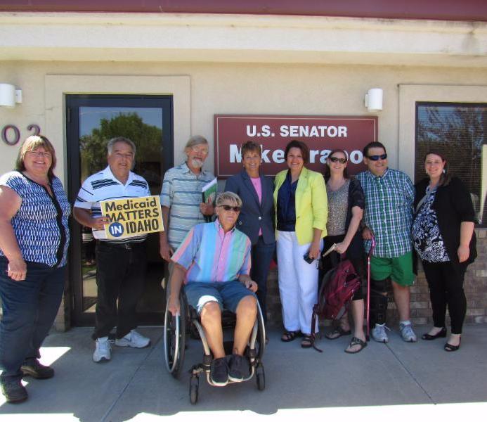 Twin Falls rally participants outside of Senator Crapo's office.