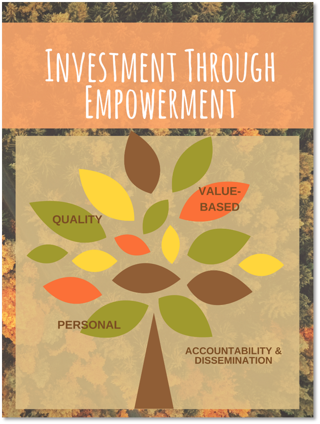 Investment through empowerment. Personal, value-based, accountability and dissemination and quality