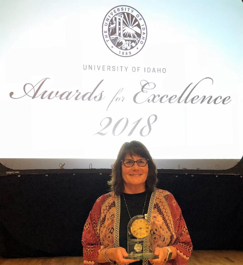 Julie pictured with award