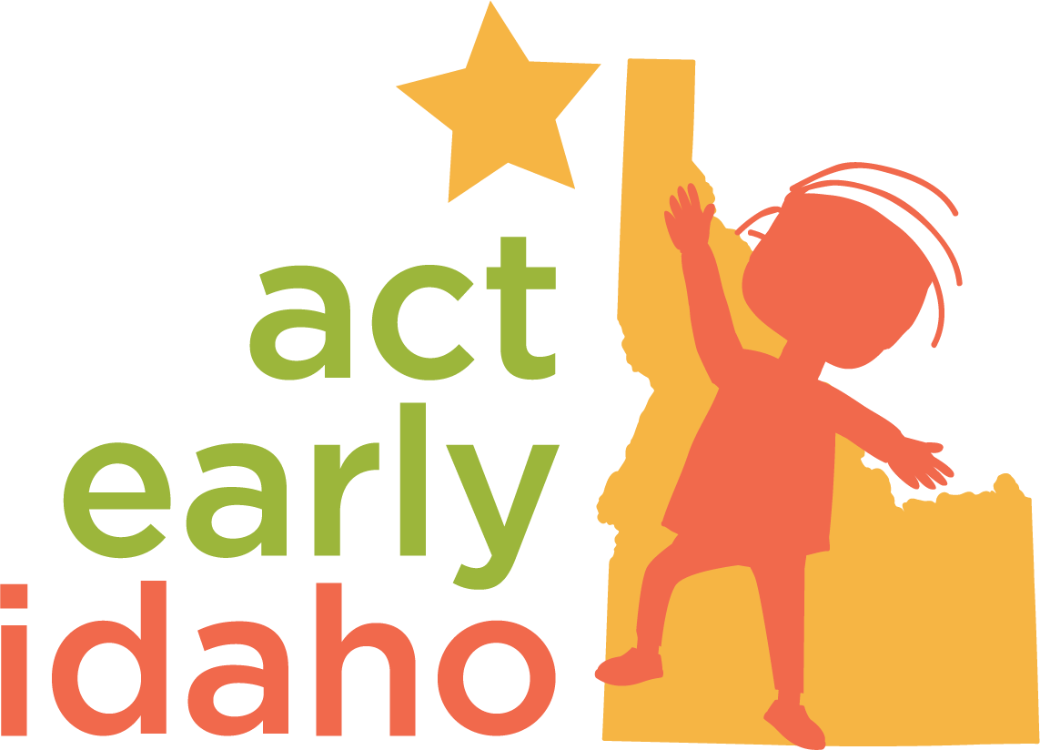 Act Early Idaho Logo. Child reaching for a star in front of Idaho.