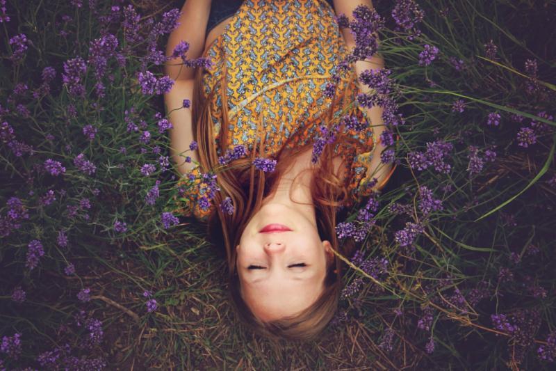 eyes closed in lavender