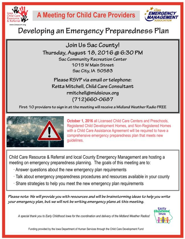 Reminder Sac County Emergency Preparedness Informational Meeting