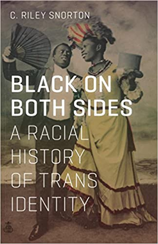 """Book cover of """"Black on both sides."""" Historical photograph of two Black people mixing feminine and masculine clothes."""