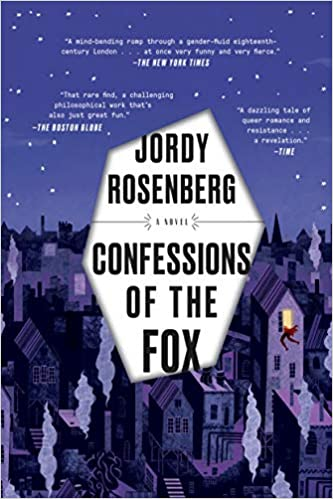 """Book cover of """"Confessions of the Fox."""" Illustration of urban nighttime scene with person climbing through window."""