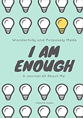 """Book Cover of """"I Am Enough."""" Black bold text on green background, showing many white cartoon lightbulbs with one yellow bulb."""