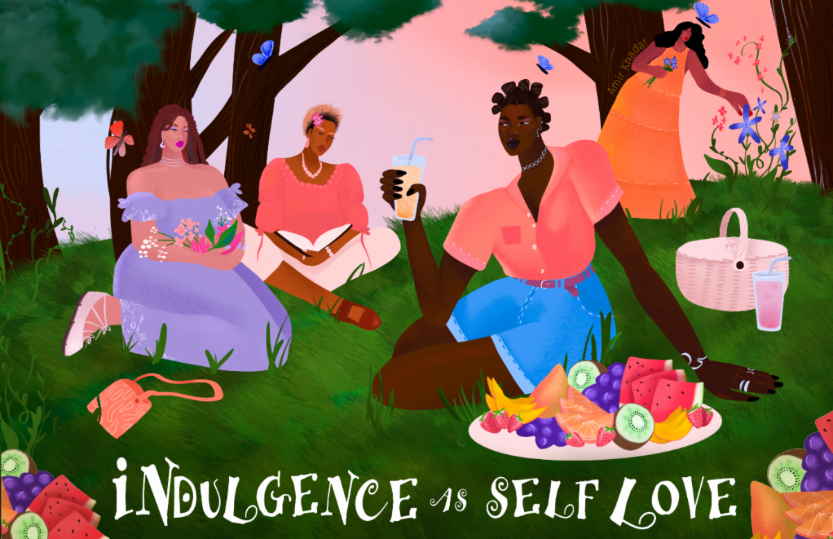 "Painting of four transgender women enjoying a picnic, titled ""Indulgence as Self Love"""