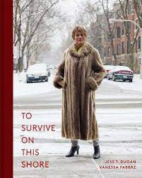 """Book cover of """"To Survive on This Shore."""" Transgender woman smiling in fur coat standing on snowy street."""