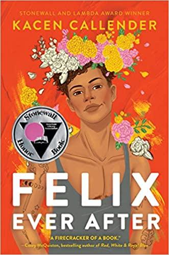 """Book cover of """"Felix Ever After."""" Illustration of Black transmasculine teenager wearing large flower crown."""