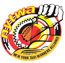 NYTWA logo: fist around a yellow and red steering wheel