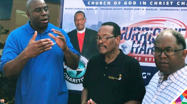 Magic Johnson_ Bishop Charles E. Blake_ and Los Angeles County Supervisor Mark Ridley at an event for victims of Hurricane Harvey.