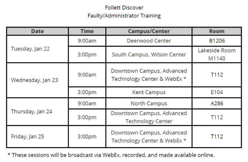 Follett Discover Faculty/Administrator Training