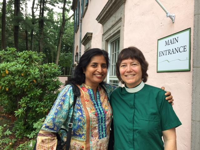 Photo of Shua Khan Arshad (Associate, Center for the Study of Jewish-Christian-Muslim Relations) with the Rev. Dr. Margaret Bullitt-Jonas after the 2018 Peace Conference, Rolling Ridge Retreat & Conference Center, North Andover