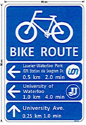 Bike route signage on trail
