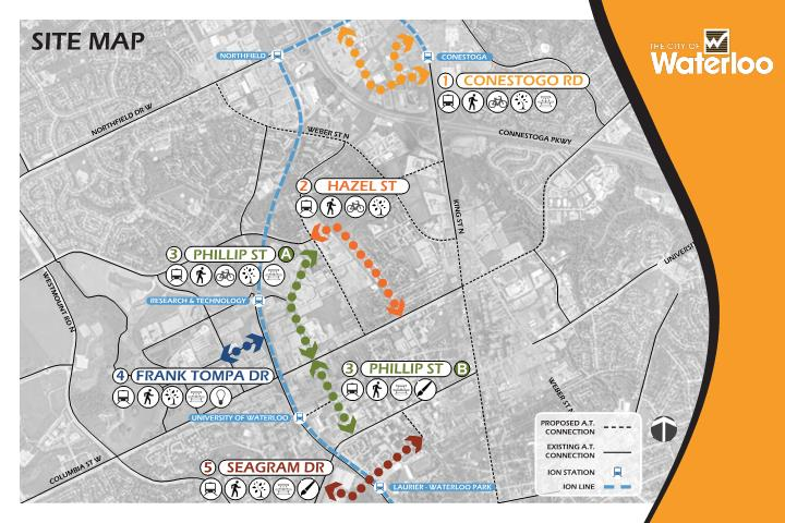 Map showing the five streets that are being redesigned.