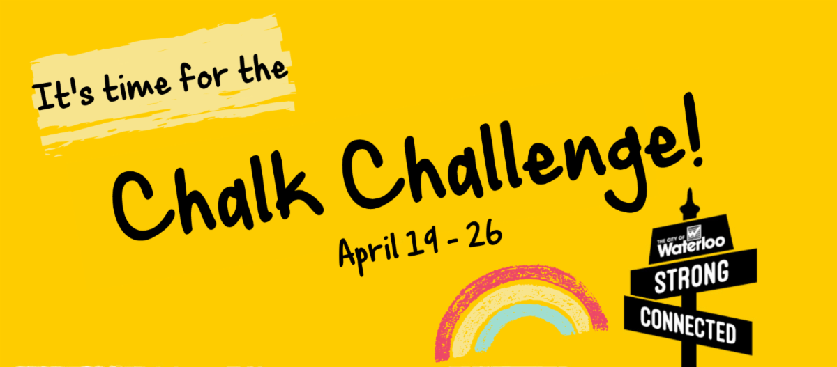 yellow background with street sign neighbourhoods logo that says strong and connected. Text says it's time for the chalk challenge! April 19-26 .