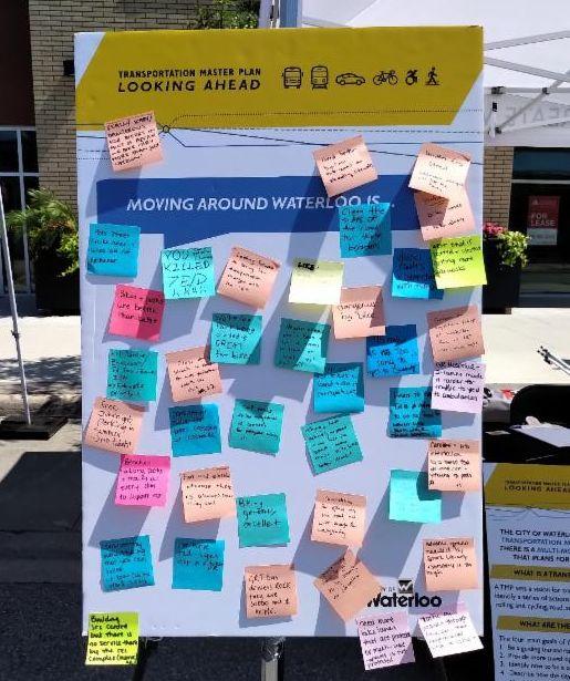 Pop up presentation board at transportation master planning exercise