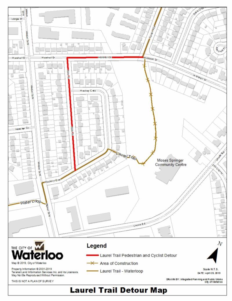 Laurel Trail detour map