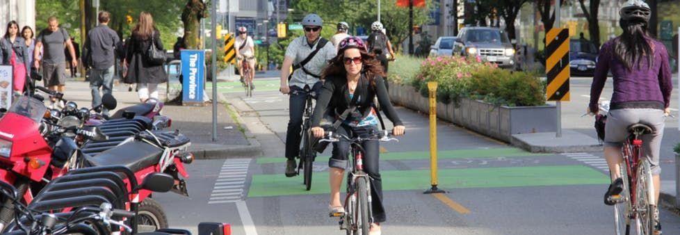 Sample of the pilot bike lanes - Borden Street