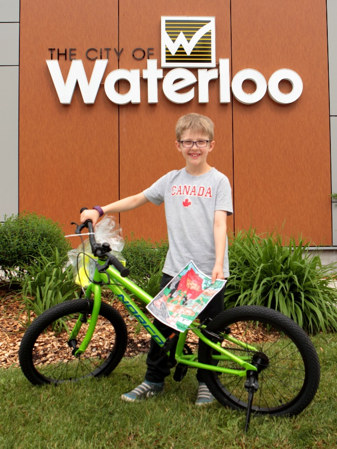 Lucky winner of a bicycle