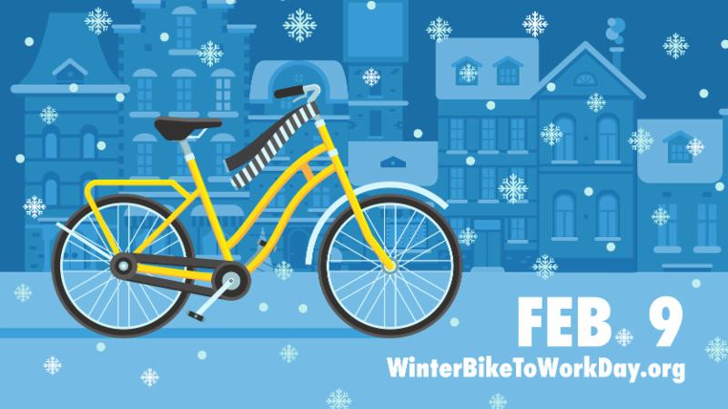 Winter Bike to Work Day Illustration
