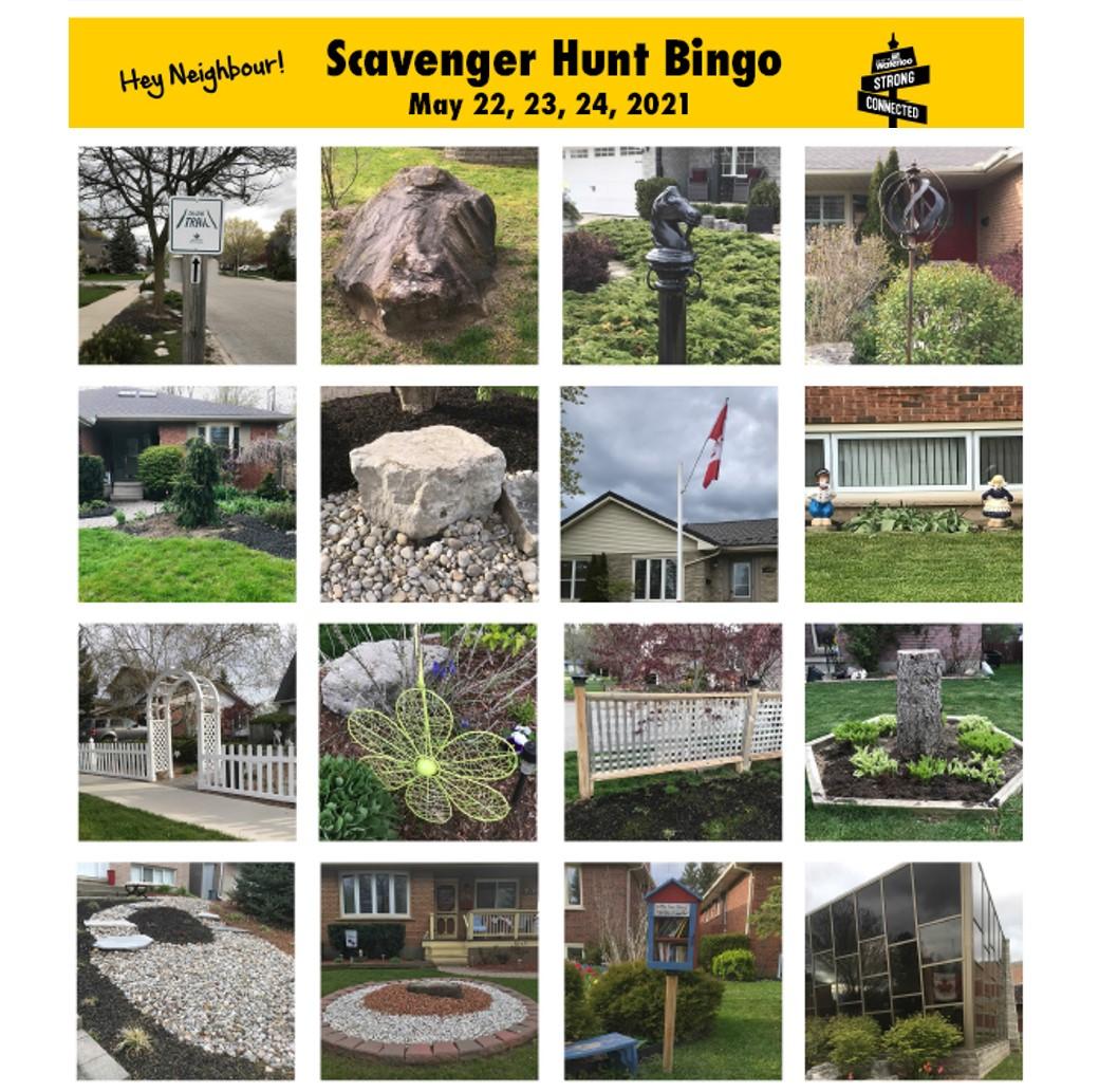 A bingo card of neighbourhood spots