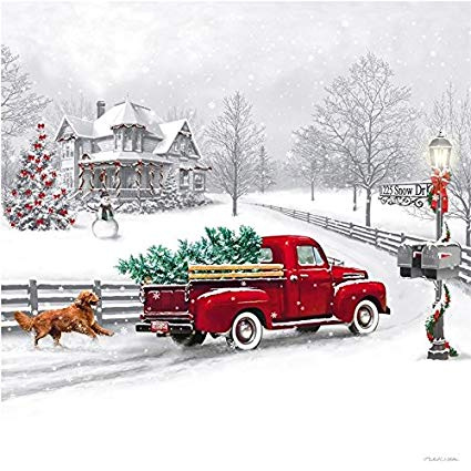 Old Red Truck With Christmas Tree In Back.Grow The Valley For December 2018