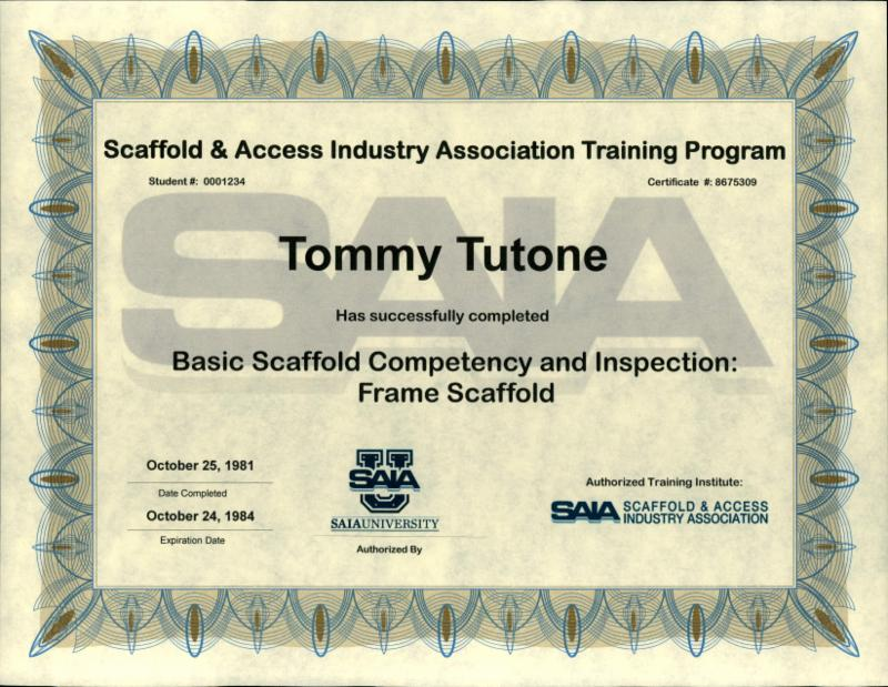 Renew your Basic Scaffold Competency and Inspection training with SAIA