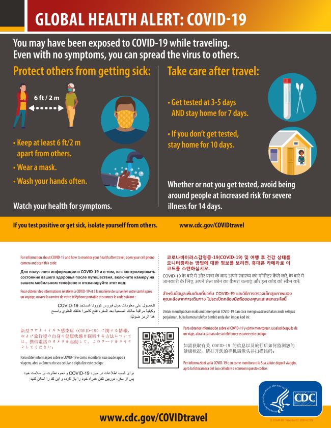 CDC travel advisories