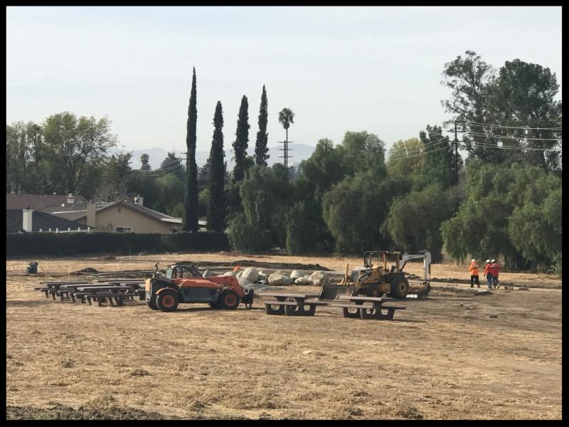 park construction crew with new tables