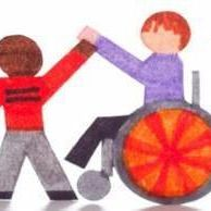 Drawing of student using a wheelchair linking hands with a student of color