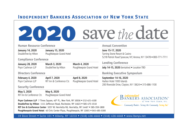 2020 Save the dates Meetings