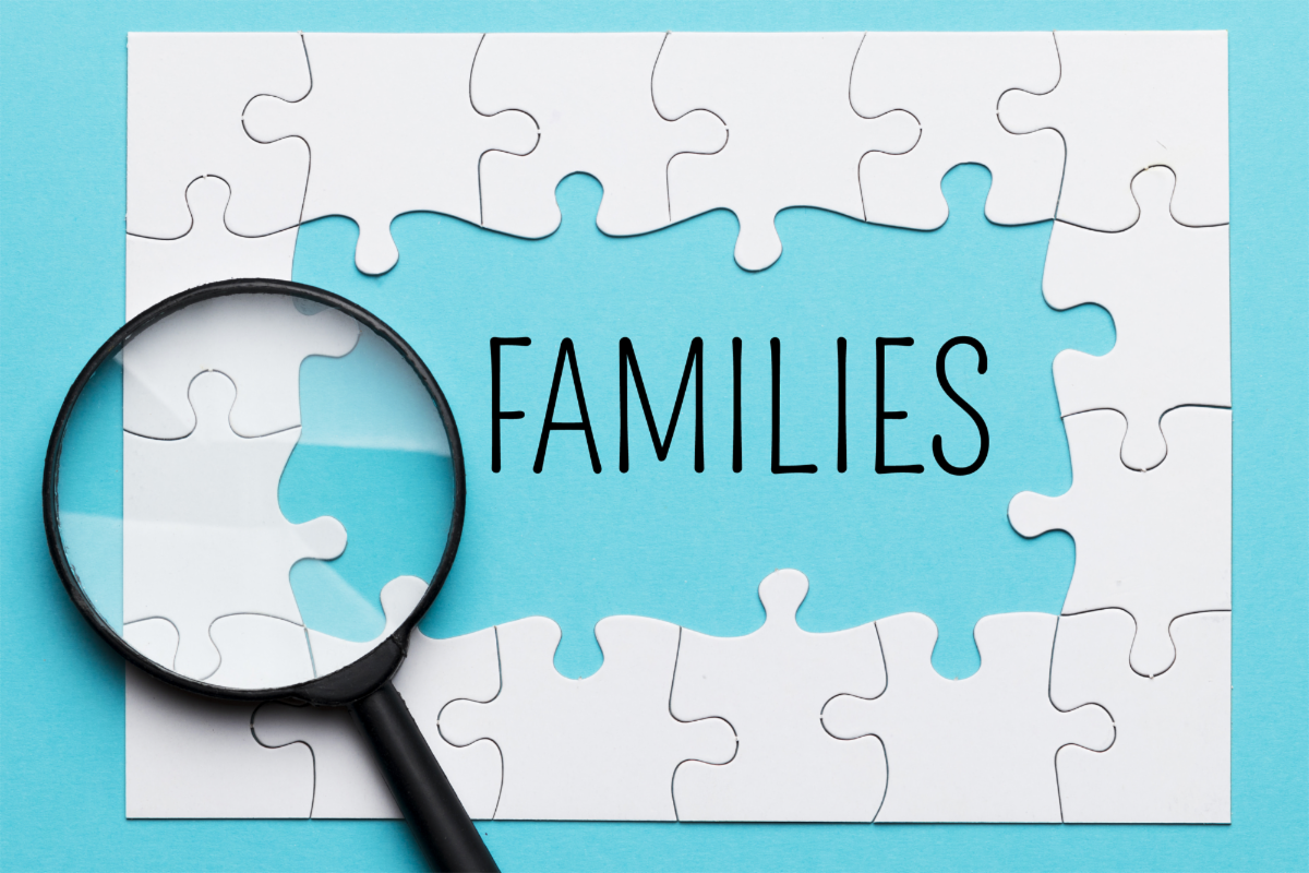 Families inside a jigsaw puzzle with a magnifying glass.