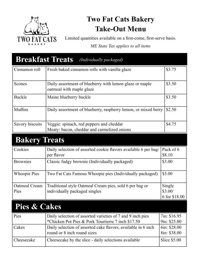 TwoFatCatsBakery Takeout menu