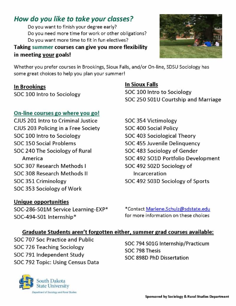 SDState Sociology News & Important Dates