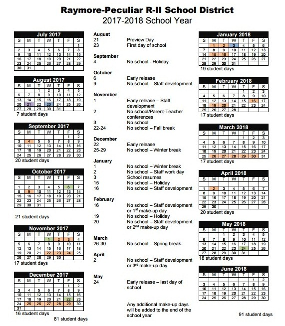 26 approved the calendar for the 2017 2018 school year the first day of school will be wednesday aug 23 with preview day on monday aug 21