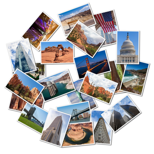 USA famous landmarks and landscapes photo collage_ over white background