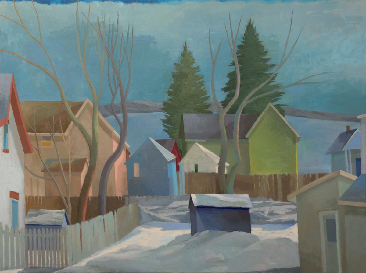 Celia Reisman, Water Street Winter, 36 x 48 inches, oil on canvas