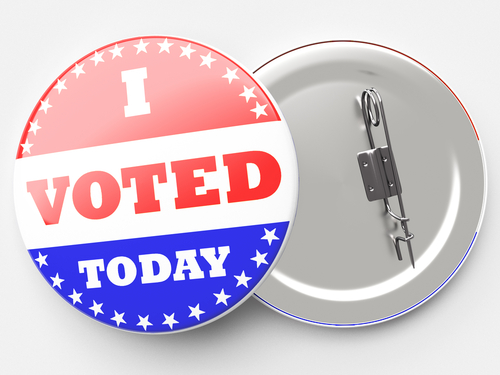 I Voted Today pin badge brooch isolated. Include clipping path. 3d render