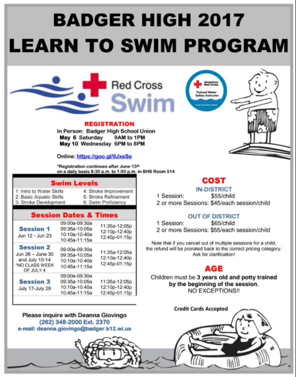 2017 Badger Learn To Swim Flyer