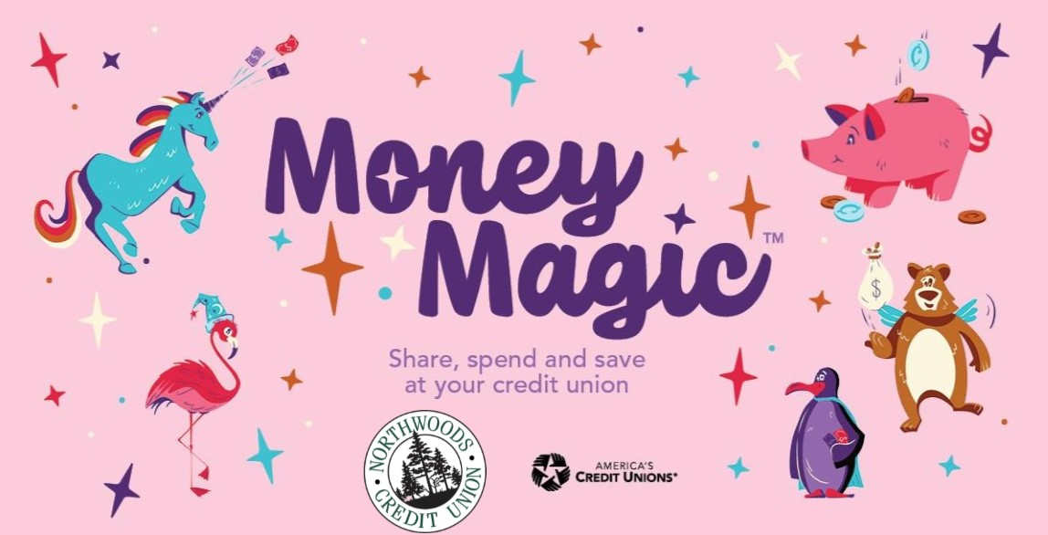 money magice ncu youth week poster with photos of animals ncu logo  and americas credit unions    Share spend and save at your credit union