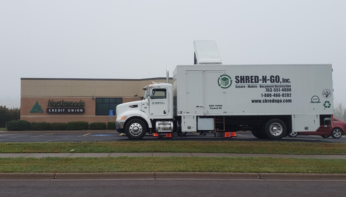 Shred N Go, Inc Truck parked in front of 902 Stanley Avenue, Cloquet NCU office