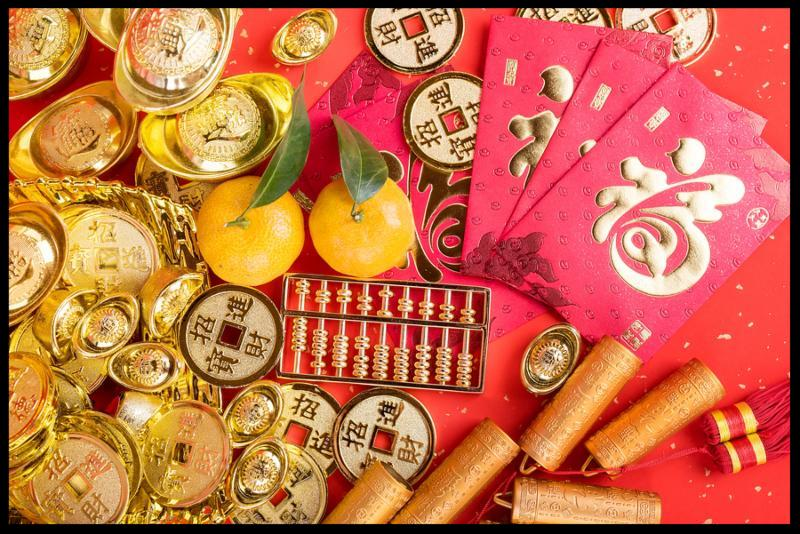 Chinese new year ornament--gold ingot,golden coin and golden abacus,Chinese calligraphy Translation good bless for new year
