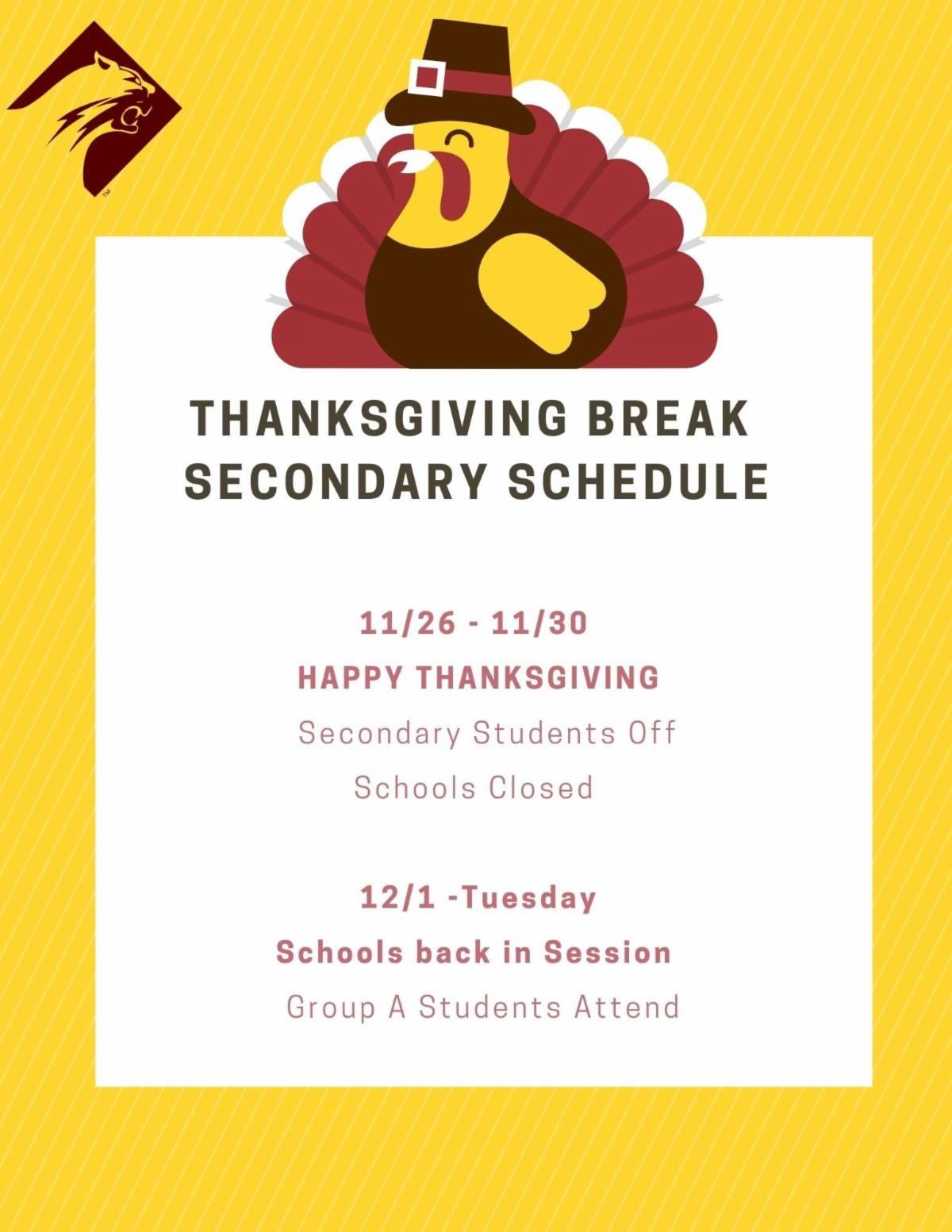 Secondary Thanksgiving Schedule