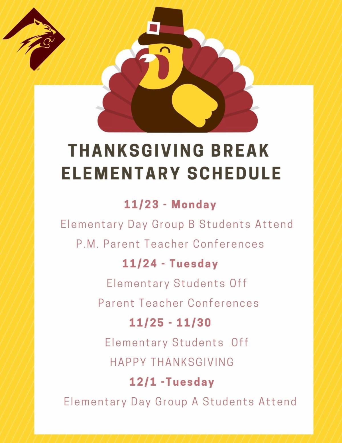 Elementary Thanksgiving Schedule