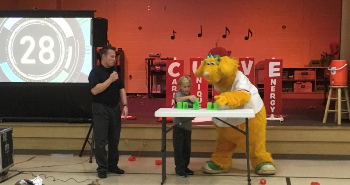 Altoona Curve Mascot Loco with Baker Elementary Student