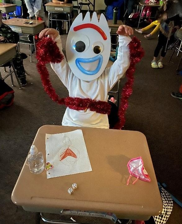 Pleasant Valley Elementary student in costume