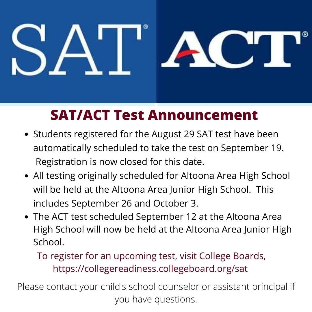 SAT ACT Announcement