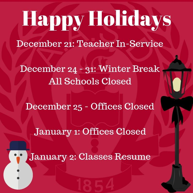 Happy Holidays Schedule