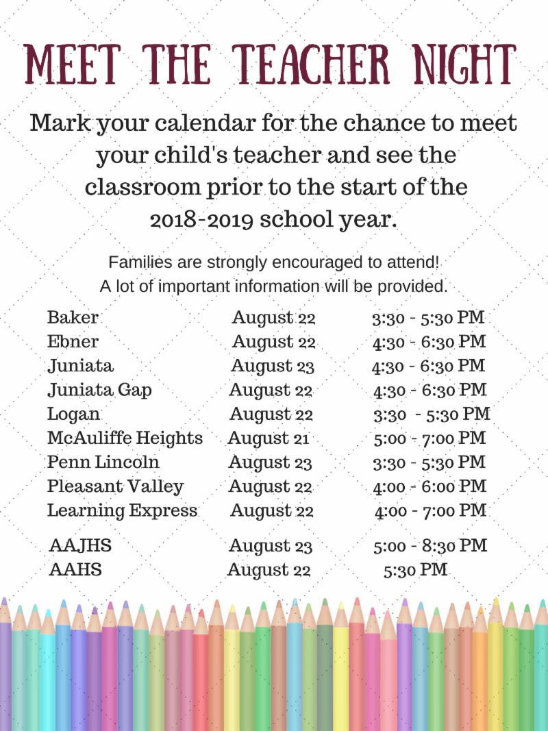 Meet the Teacher Night Schedule