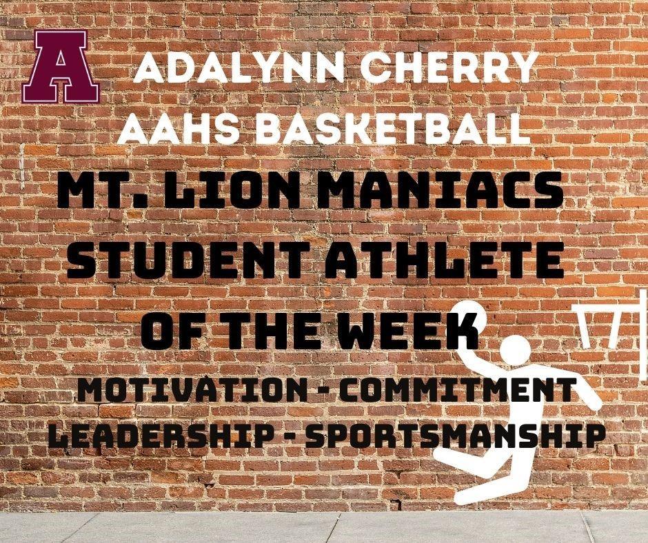 Adalynn Cherry Maniacs Athlete of the Week